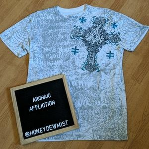 ARCHAIC by AFFLICTION White Cross and Wings Tee